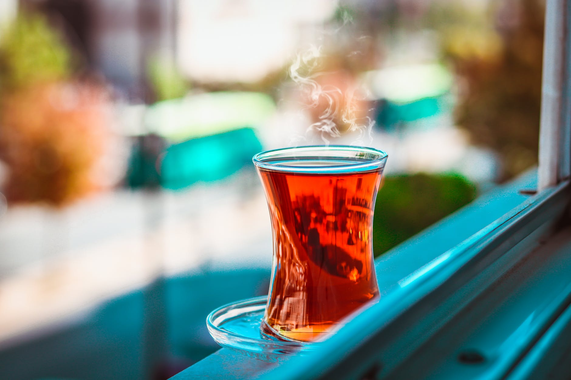selective focus of turkish teacup filled with tea